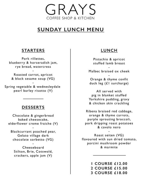 Grays Sunday Roast menu