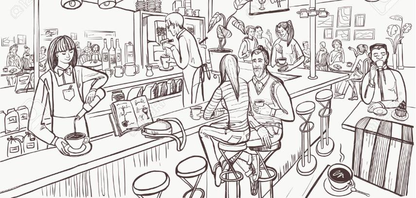 sketching cafe